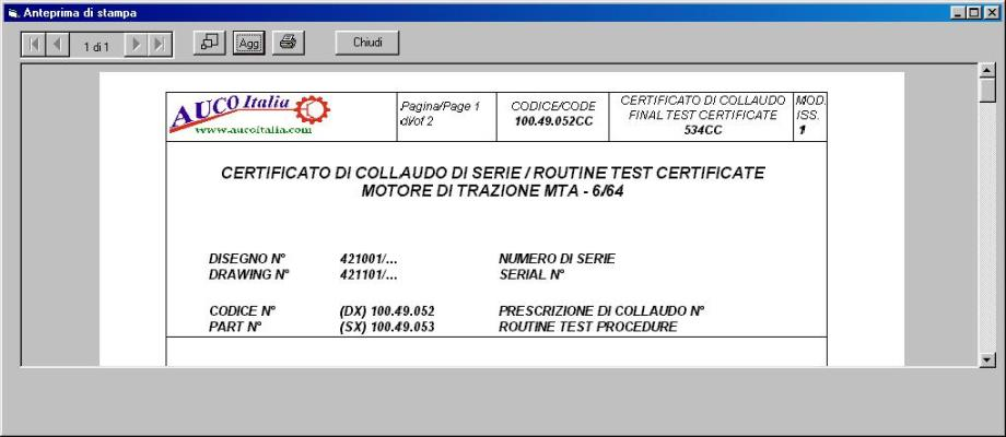 Test certificate preview