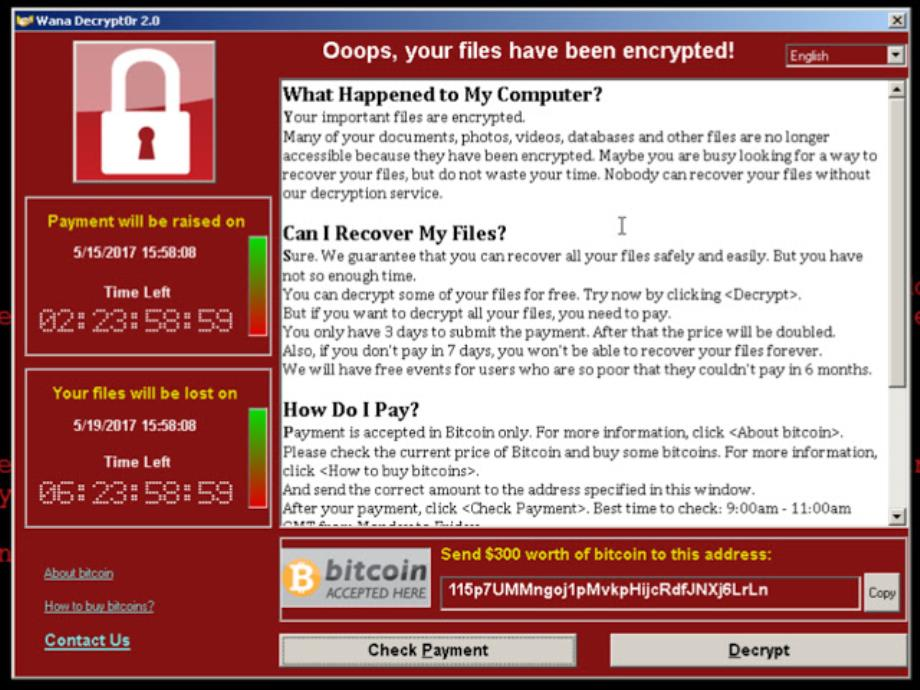 Virus WannaCry: image showed at stratup of the computer