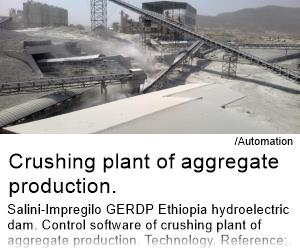 Crushing plant of aggregate production